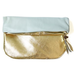 Image of Leather Clutch, gold/minty blue
