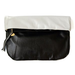 Image of Leather Clutch, black/white