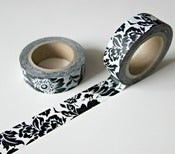 Image of Washi tape &quot;Black flowers&quot;