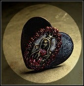 Image of Santo Sacred ♥ Heart Leather Ring~!