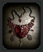 Image of Garnet ♥ Heart Lace Necklace~!