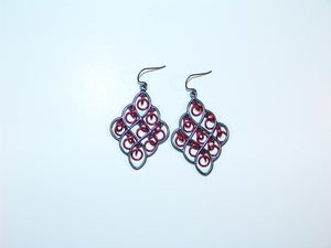 Image of Red And Black Chandelier Earrings