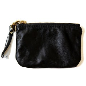 Image of Leather coin purse, black / white