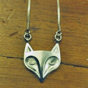 Silver Peaceful Fox Pendant - Large