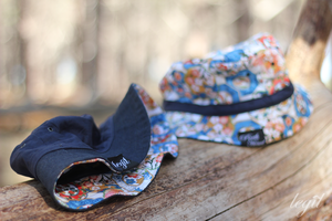 Image of Not For Fishing Reversible Bucket Hat Navy, Denim/ Blue Oriental Flower Camo