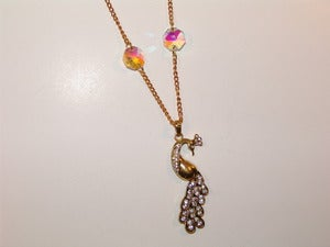 Image of Golden Jeweled Peacock Necklace