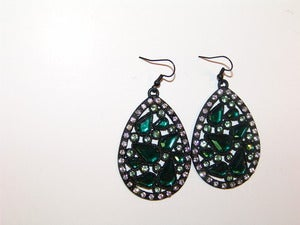 Image of Jeweled Green Oval Earrings