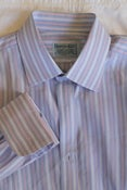 Image of Hilditch &amp; Key Blue Striped Shirt, size 16