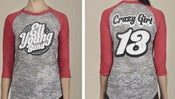 Image of Gray/Red Crazy Girl Burnout Raglan *FREE GRAB BAG T-SHIRT INCLUDED*