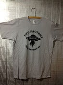 Image of UFO FACTORY new detroit, mi TEE SHIRT black print on silver-gray shirt