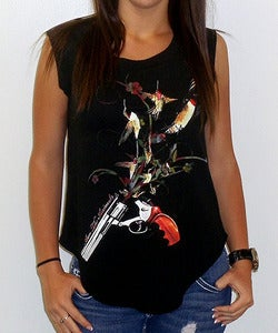 Image of Girls | Hummingbullets | Cap Sleeve Crew | Black