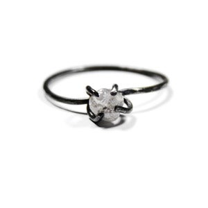 Image of Rough Diamond Ring Bright or Oxidized Silver