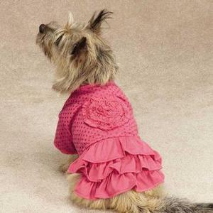 Image of Zack & Zoey Polka Dot Ruffle Dog Dress - Raspberry