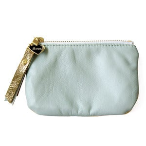 Image of Leather coin purse, minty blue / gold