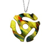 Image of Ltd. Edition 45 Adapter Necklace/Earrings made from a recycled Yellow Splatter vinyl record!