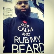Image of  BLACK KEEP CALM AND RUB MY BEARD WHITE PRINT RED STAR