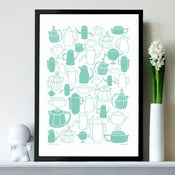 Image of NEW &quot;Vintage Coffee&quot; print in retro mint