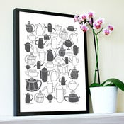 "Image of NEW ""Vintage Coffee"" print in slate grey"