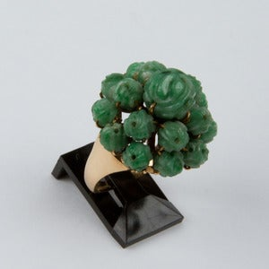 Image of 14k Gold Carved Jade Ring