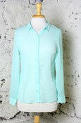 Image of Sheer & Sweet Dotted Swiss Button Down Blouse: Mint