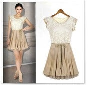 Image of Tan/Ivory Lace Dress