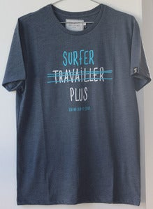 "Image of SEN NO SEN t-shirt ""surfer plus"" - marine chiné"