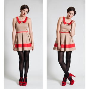 Image of Oh so Frenchy Dress - Beige/Red