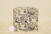 Image of Ransom Ottoman - Numbers &amp; Letters - Neutral Colors - NEW