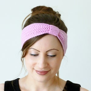 Image of Crochet turban knot headband in pink