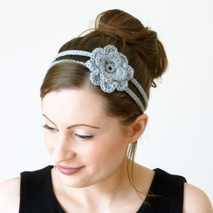 Image of Crochet flower tie headband in light grey