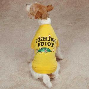 Image of Zack & Zoey Fishing Buddy Dog T-Shirt - Yellow