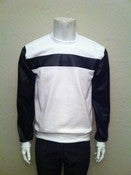Image of White & Black Leather Sweatshirt