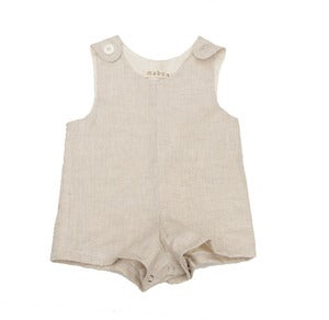 Image of Oatmeal Linen Boy Playsuit