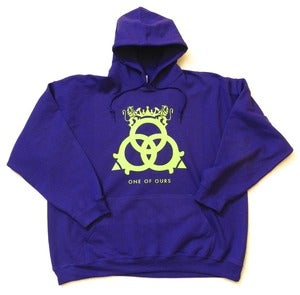 Image of Purple Hooded Sweatshirt Lime Green Logo