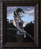 Image of Reborn Framed Original Painting Tomb Raider 18x24 Lara Croft