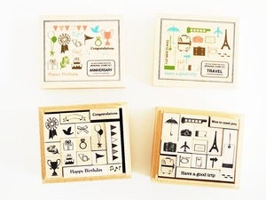 Image of Wooden Decorative Rubber Stamp Kit