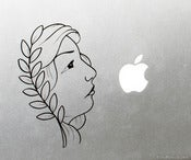 Image of Woman Face and Leaves Vinyl Decal