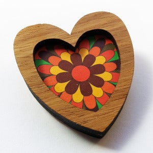 Image of Heart Brooch - Retro Floral (Free Shipping)