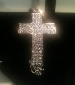 Image of Heavyweight Rhinestone Cross Bracelet