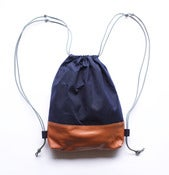 Image of INDIGO WAX CANVAS : SENSIBLE DRAWSTRING BACKPACK