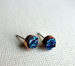 Image of Copper and Sterling Silver Blue Drusy Studs