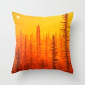 Image of Forest At Dawn Designer Fabric Throw Pillow