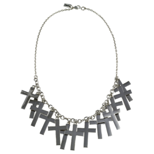 Image of Marcia. Gunmetal Fully Loaded Cross Necklace