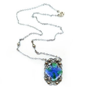 Image of Vintage Art Deco Peacock Foil Glass Silver Metal Pendant Necklace