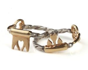 Image of Interlocking Key Friendship Ring Set (Heart Teeth)