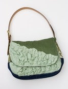 Image of large tough ruffles shoulder bag in pine + wintergreen