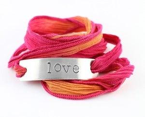 Image of NEW! &quot;LOVE&quot; Silk Ribbon Bracelet