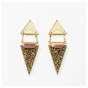 Image of Double Triangle Earrings - Gold Glitter