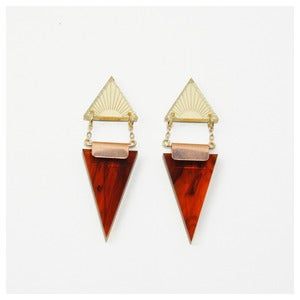 Image of Double Triangle Earrings - Tortoiseshell