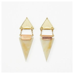 Image of Double Triangle Earrings - Horn